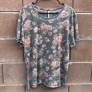 Free People Floral Soft Short Sleeve
